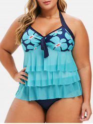 Plus Size Knotted Flower Tiered Tankini Swimsuit -