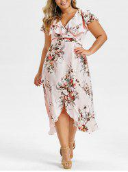 Plus Size Floral Print High Low Ruffle Maxi Dress -