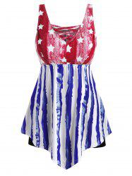 Contrast Lattice American Flag Plus Size Tankini Swimsuit -
