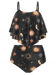 Sun and Moon Print Ruched Tankini Swimsuit -