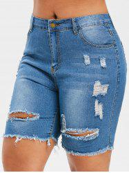 Plus Size Distressed Bermuda Jean Shorts -
