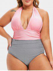 Plus Size Plunge Striped Backless One-piece Swimsuit -