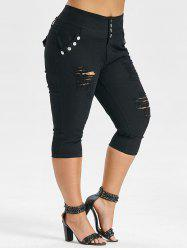 Plus Size High Rise Ripped Capri Jeans -
