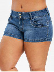 Two Buttoned Denim Plain Plus Size Shorts -