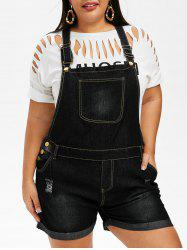 Ripped Cuffed Plus Size Denim Overalls -