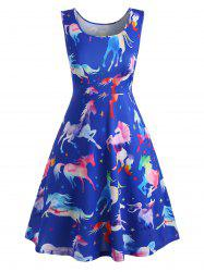 Plus Size Ombre Horse Mini Swing Dress -