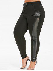 Plus Size Faux Leather Panel Pencil Pants -