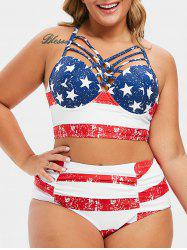Plus Size Lattice Ruched Underwire American Flag Bikini Swimsuit -
