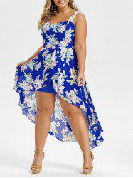 Plus Size High Low Floral Overlay Maxi Dress -