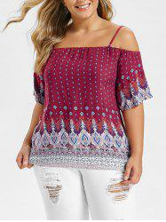 Plus Size Ethnic Print Cami Blouse -