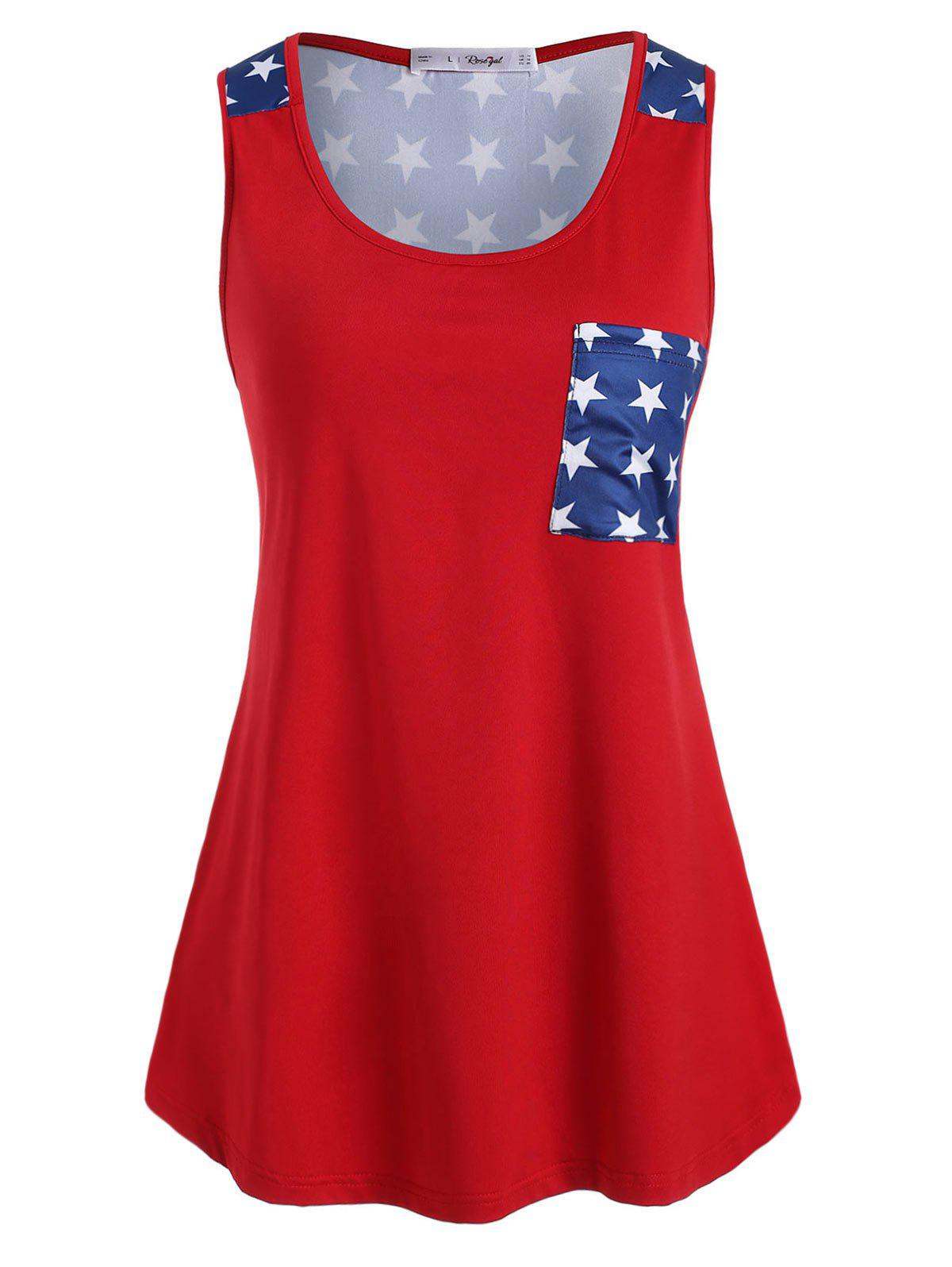 Plus Size Front Pocket American Flag Tank Top Rosegal