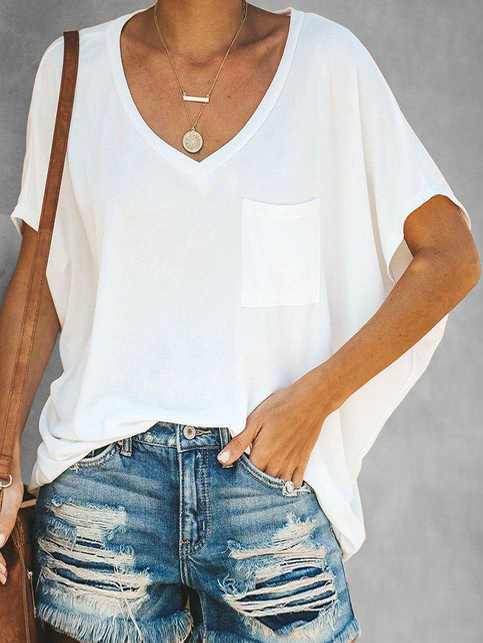 Latest V Neck Chest Pocket Batwing Tee