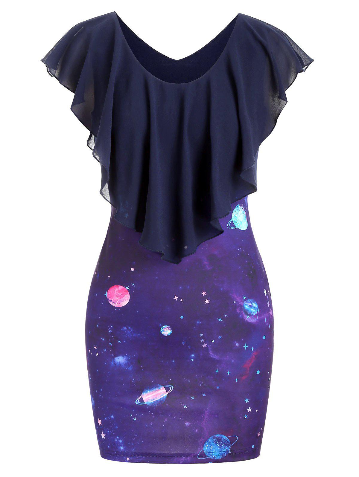 Hot Planet Star Print Capelet Bodycon Dress