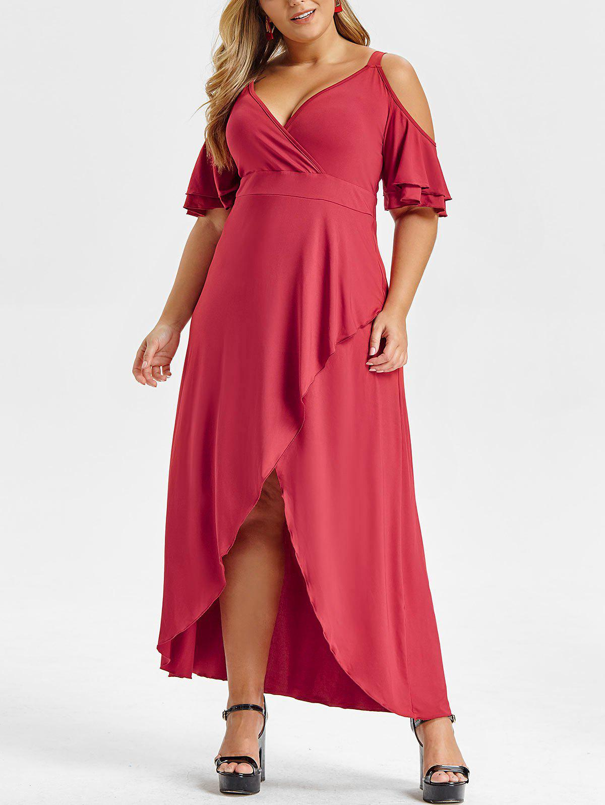 Cheap Plus Size Ruffled Sleeve V Neck Asymmetrical Maxi Dress