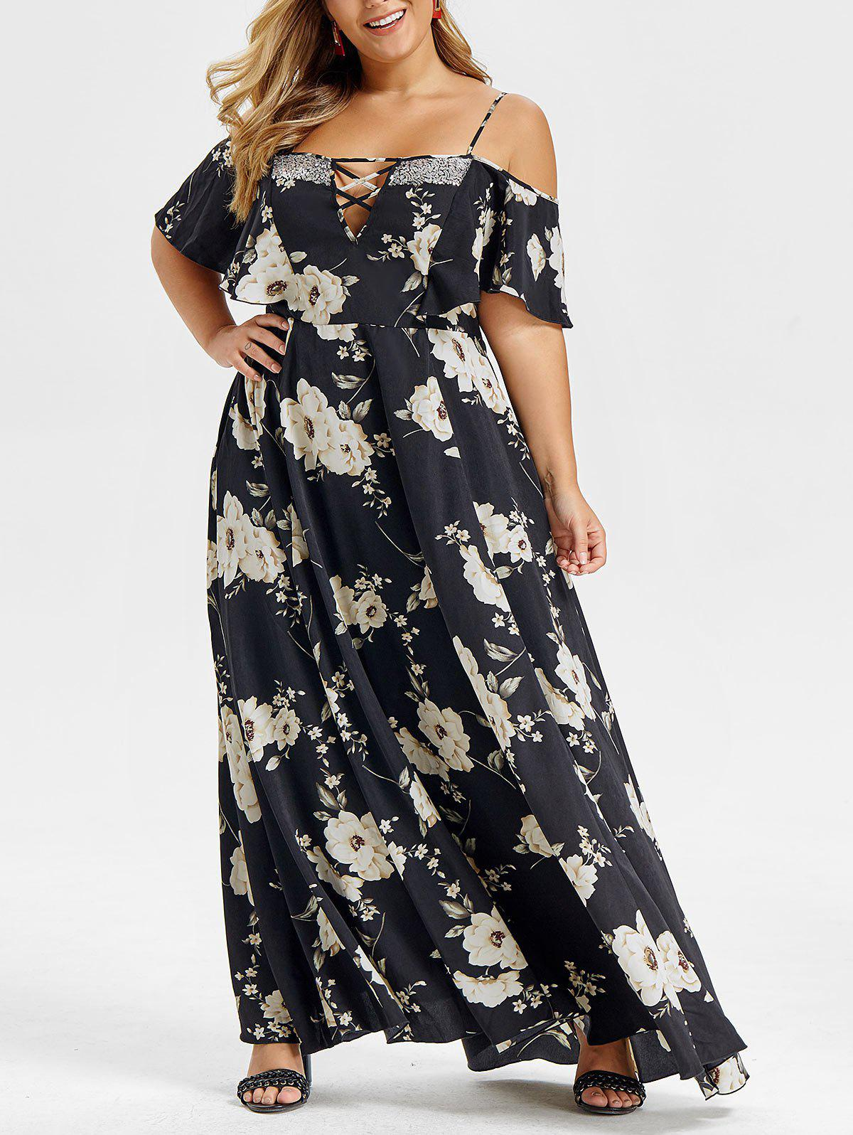 Unique Plus Size Open Shoulder Sequins Bohemian Maxi Dress