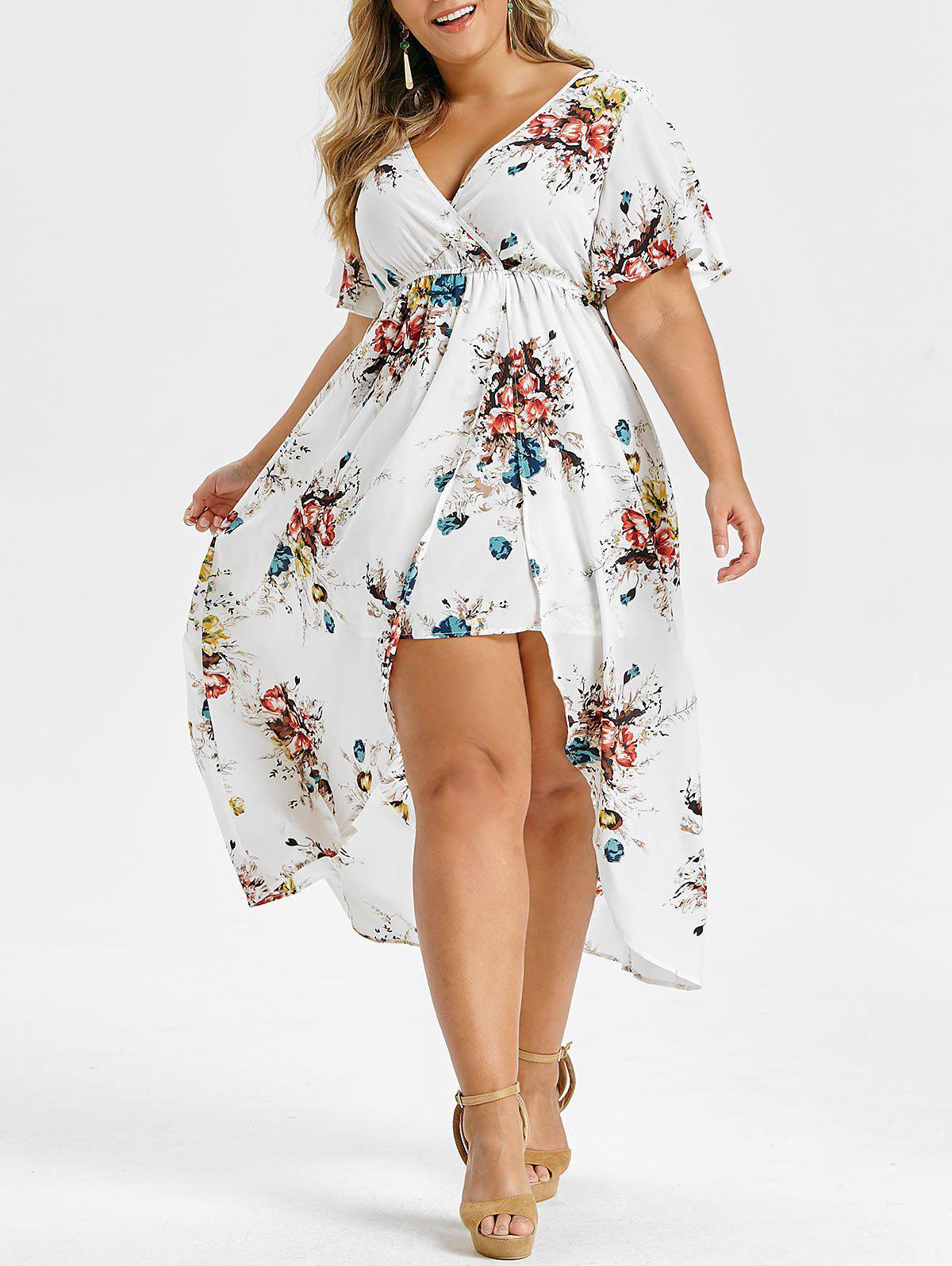 Discount Plus Size Floral Print Bell Sleeve High Low Maxi Dress