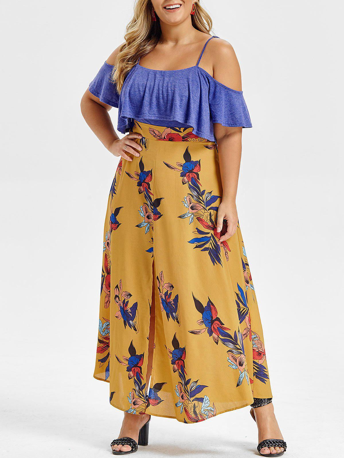 Fancy Plus Size Open Shoulder Ruffled Floral High Slit Maxi Dress
