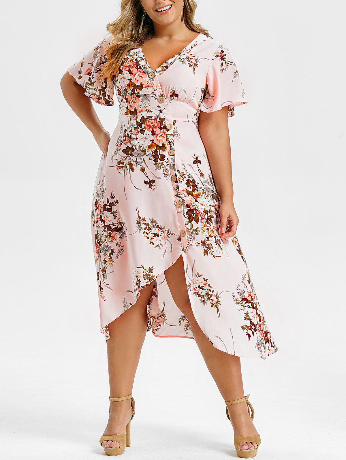 Outfits Plus Size Buttons High Low Midi Floral Dress