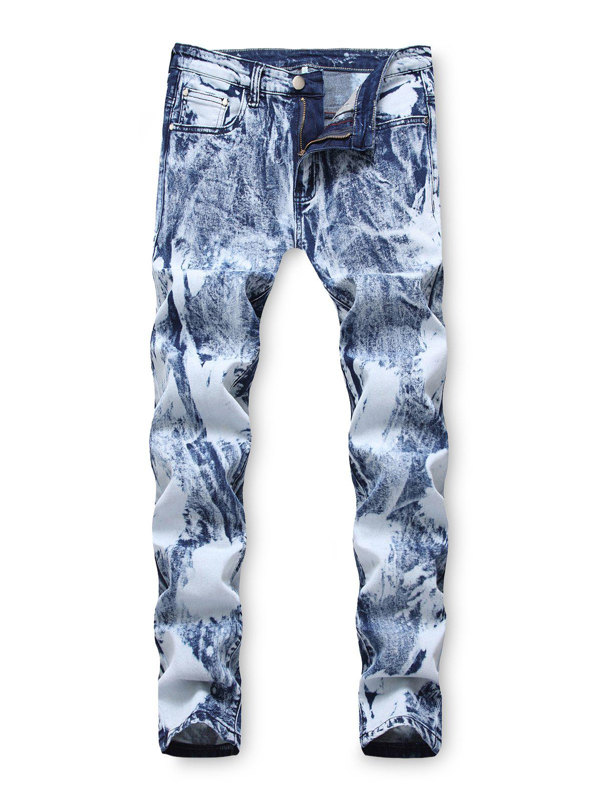 Shop Zip Fly Casual Printed Jeans