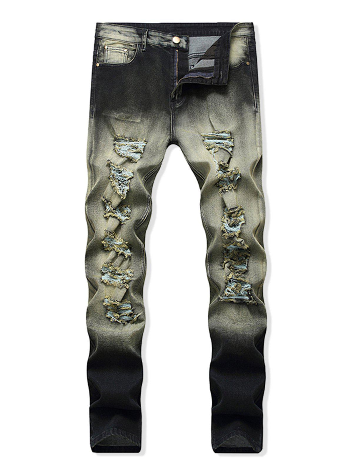 Latest Destroyed Decoration Zip Fly Jeans