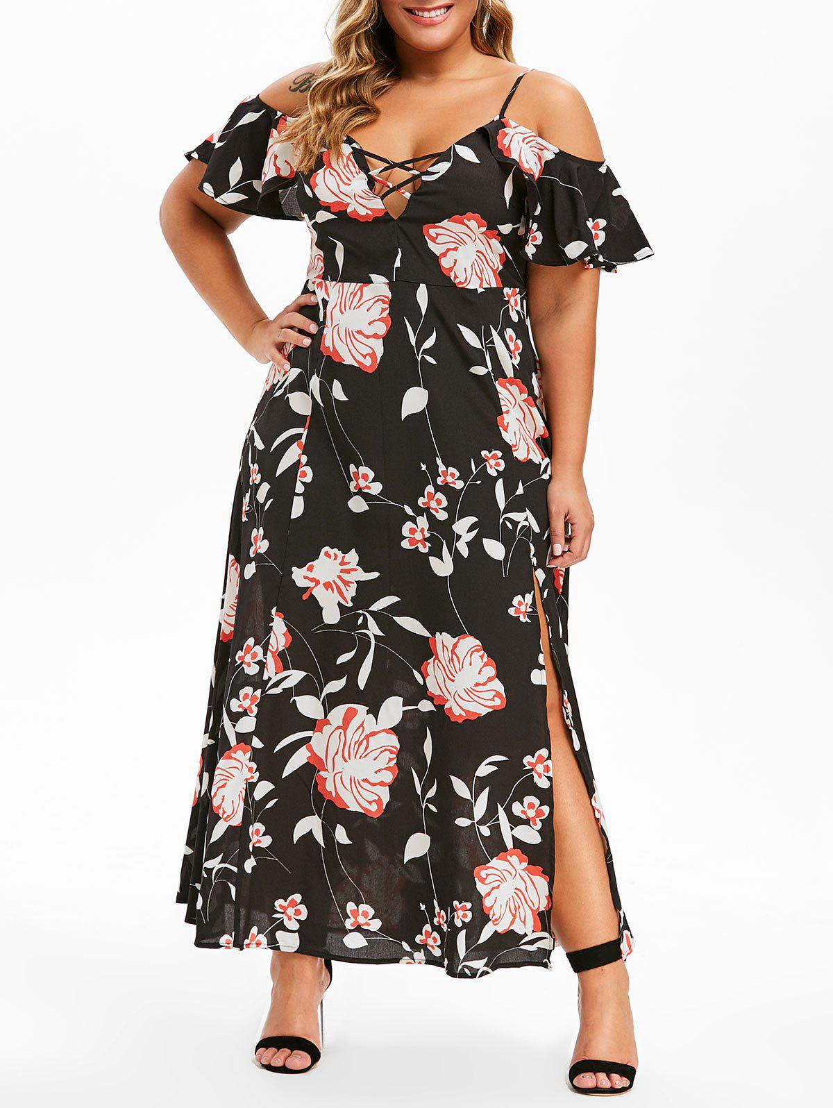 Store Plus Size Ruffle Floral Print High Slit Maxi Dress