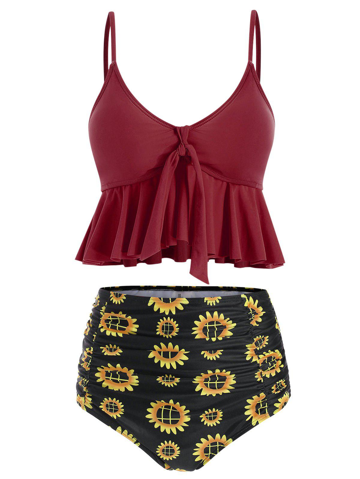 Store Floral Print Ruched Ruffles Tankini Set