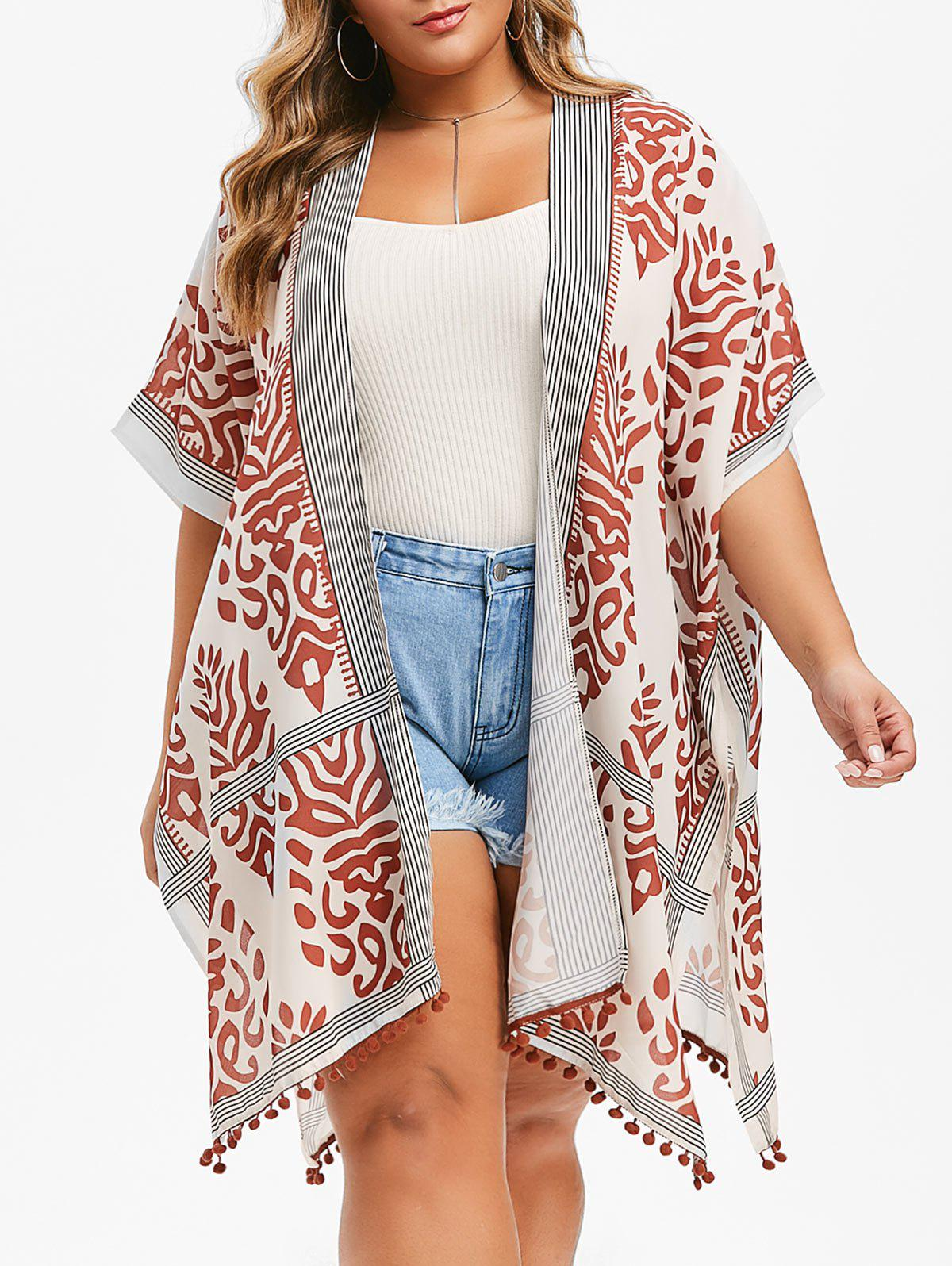 Best Printed Batwing Open Front Plus Size Blouse