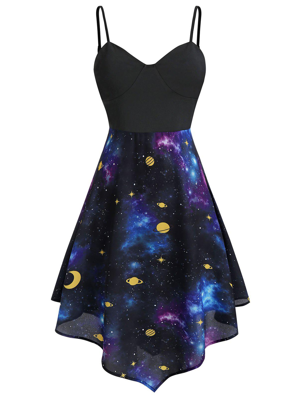 Outfit Plus Size Starry Asymmetric Moon and Star Cami Dress