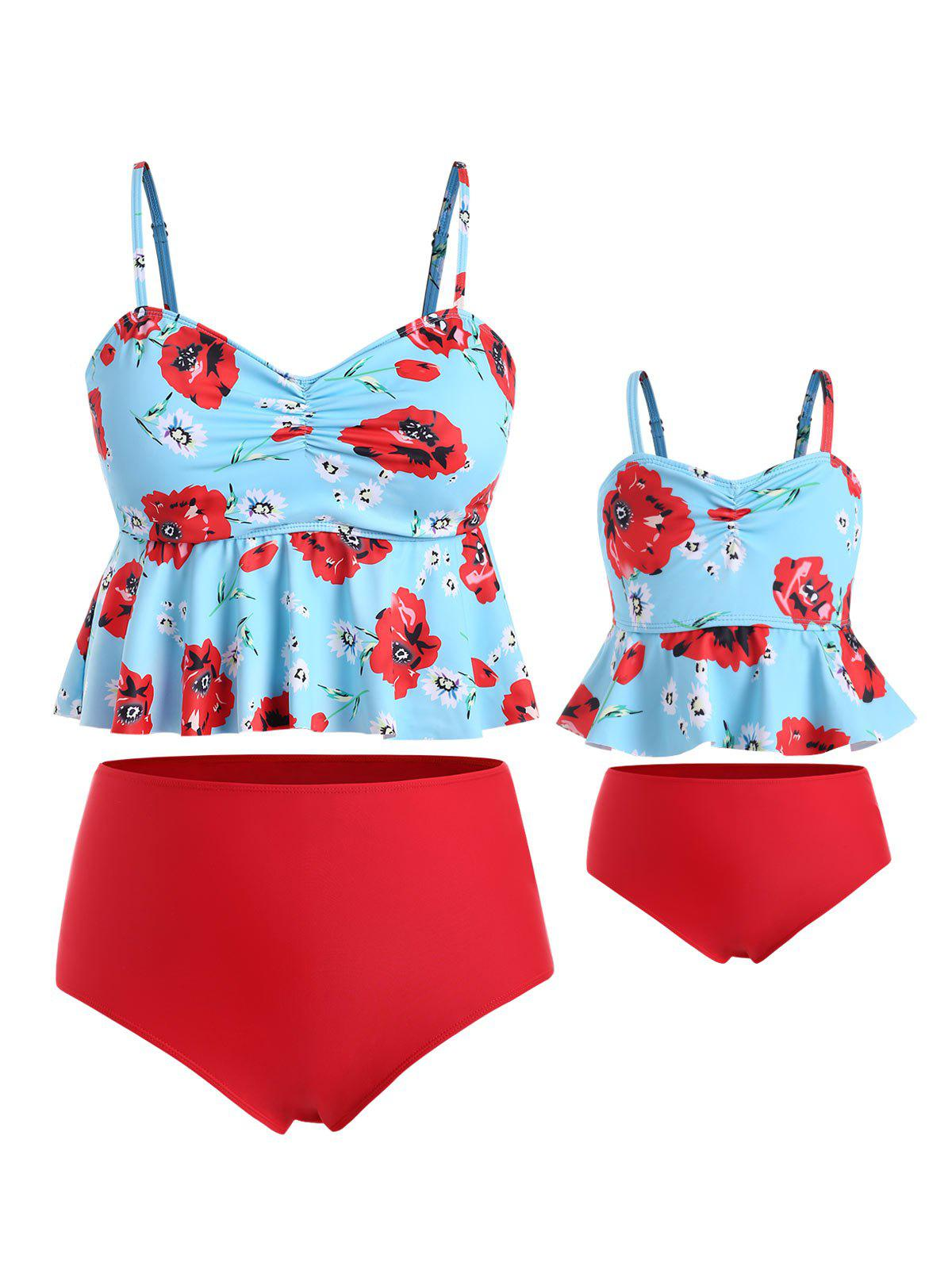 Plus Size Floral Cinched Peplum Family Swimsuit фото