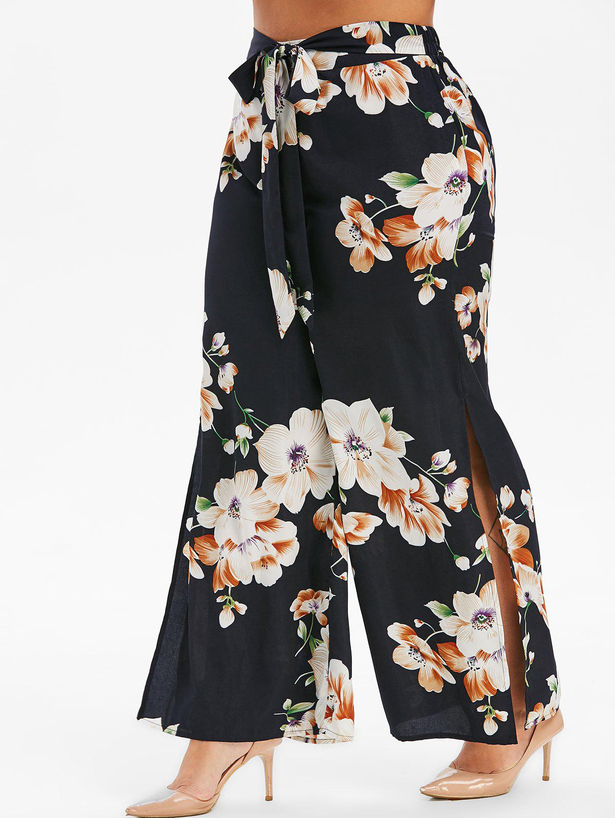 Fancy Plus Size High Slit Floral Palazzo Pants