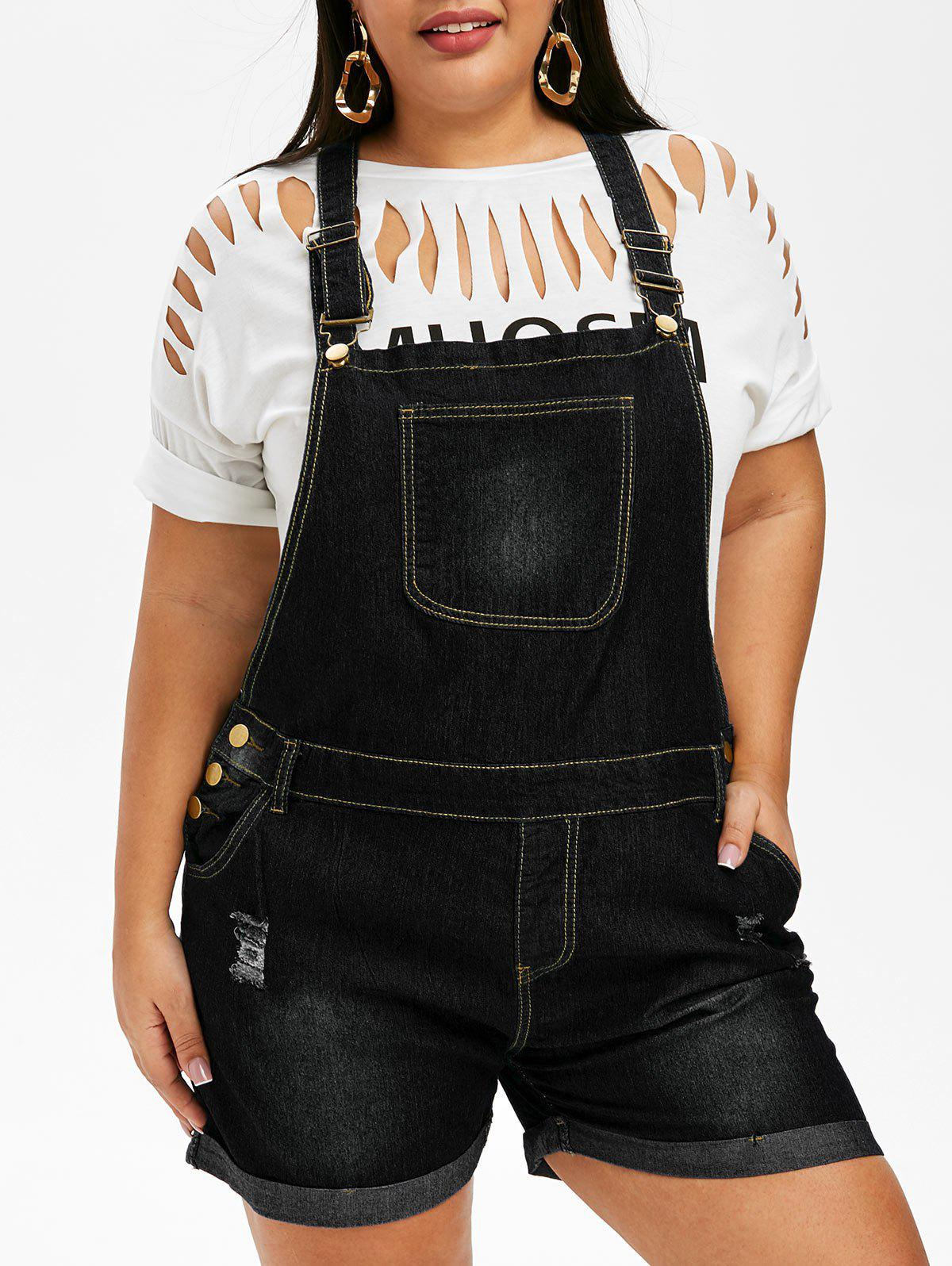 Latest Ripped Cuffed Plus Size Denim Overalls