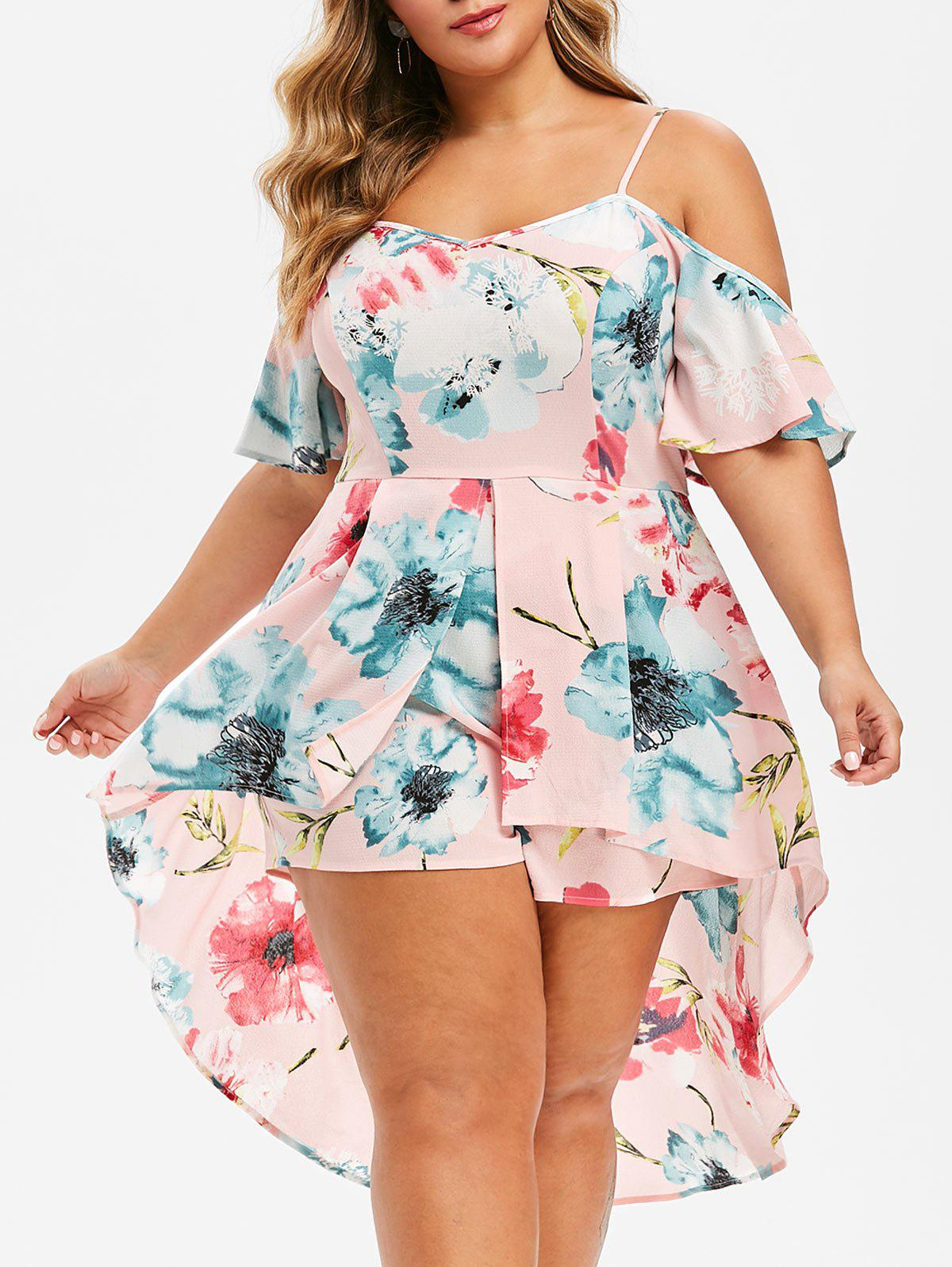 Affordable Plus Size Asymmetrical Floral Overlay Cami Romper