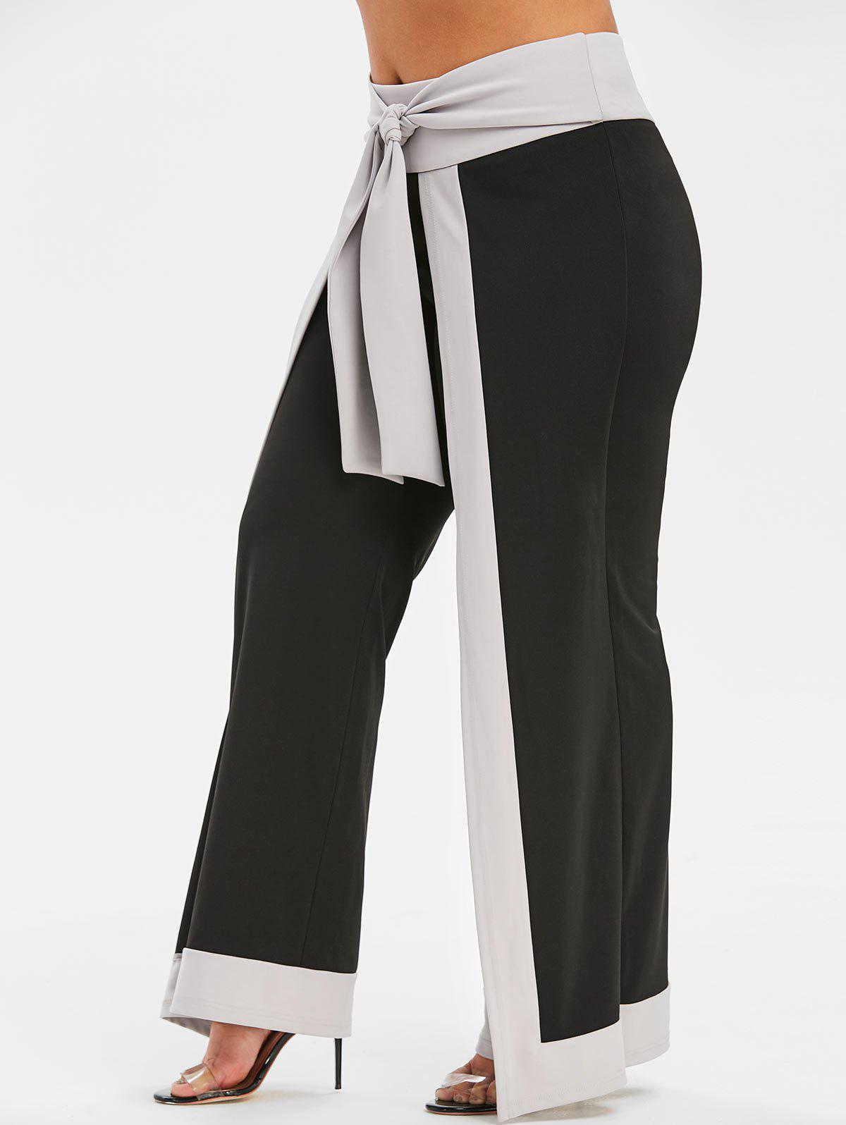 Fashion Plus Size Color Block Overlap Palazzo Pants