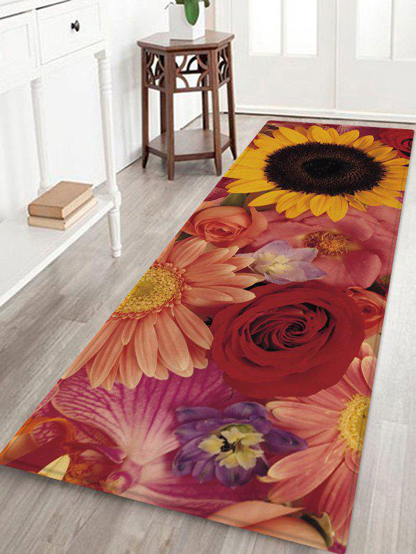 Trendy Colorful Flowers Pattern Water Absorption Area Rug