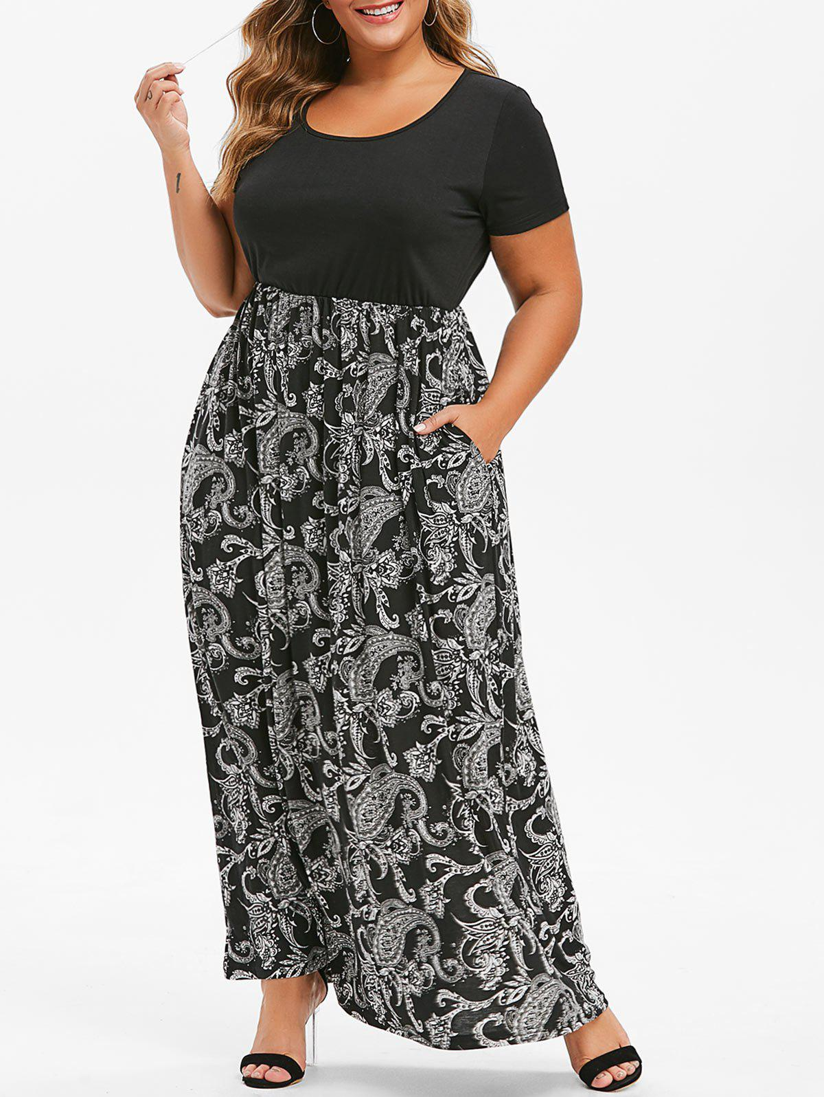 Fashion Seam Pockets Printed Maxi Plus Size Dress