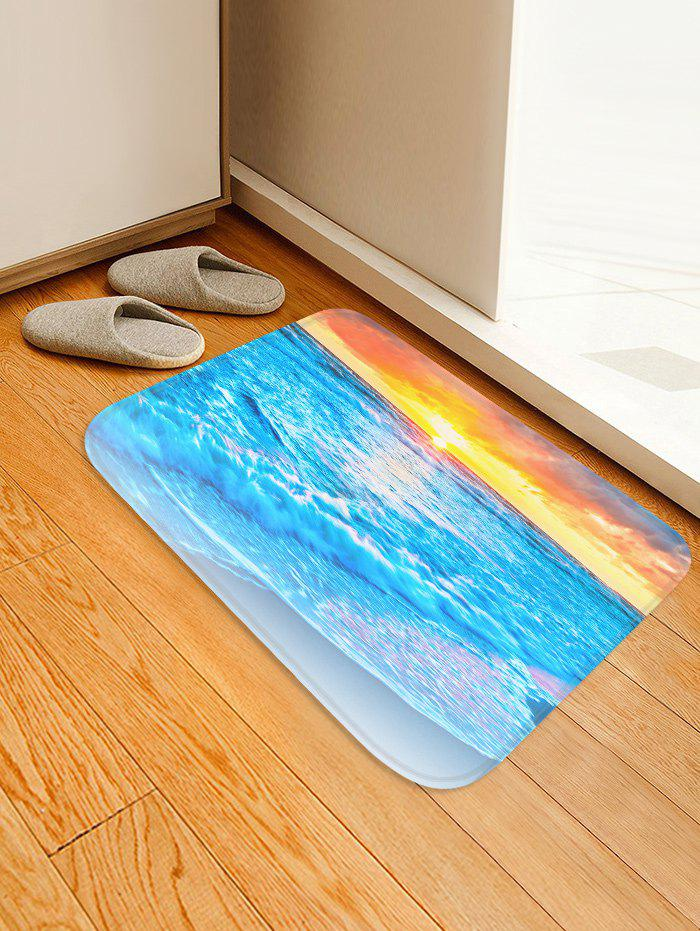 Cheap Sunset Beach Pattern Water Absorption Flannel Area Rug