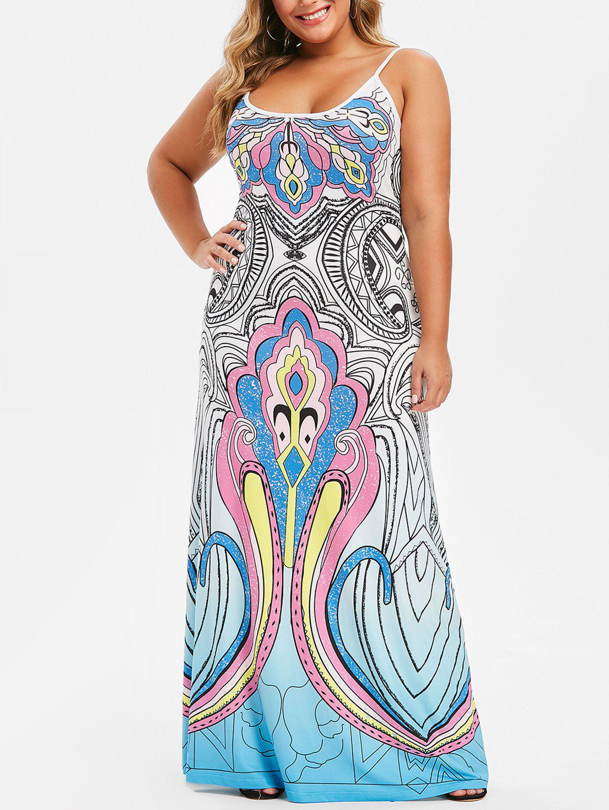 Plus Size Spaghetti Strap Ethnic Print Maxi Dress, Multi