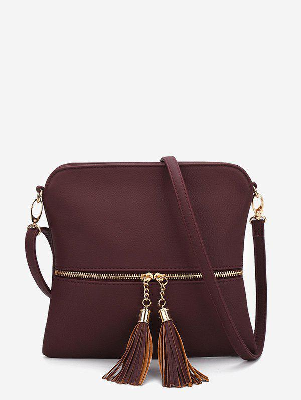 Buy Tassels Zipper Square Shoulder Bag