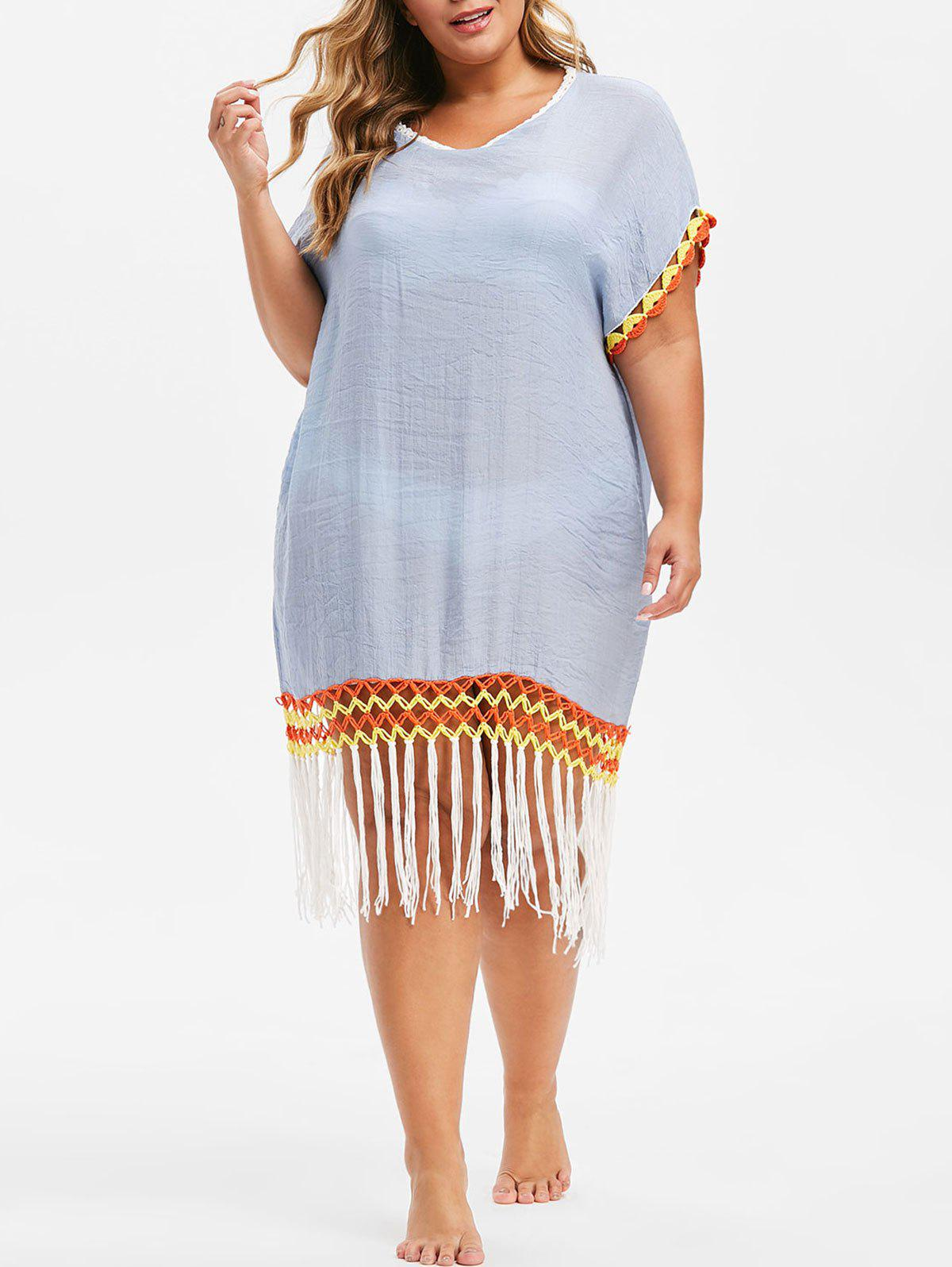 bea06501c 46% OFF] Plus Size Fringe Beach Cover Up Dress | Rosegal