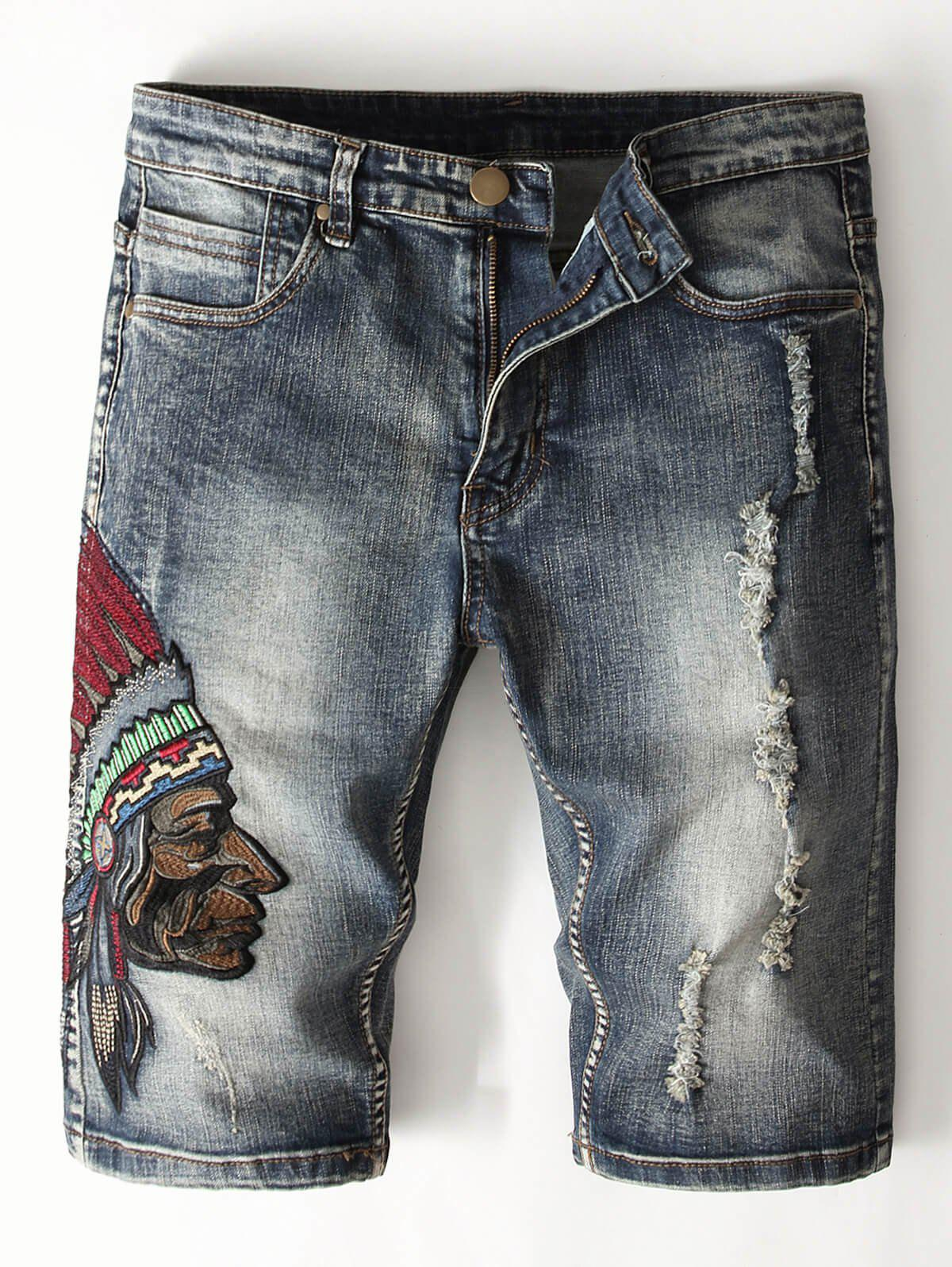 Fashion Tribal Embroidery Decoration Jeans Shorts