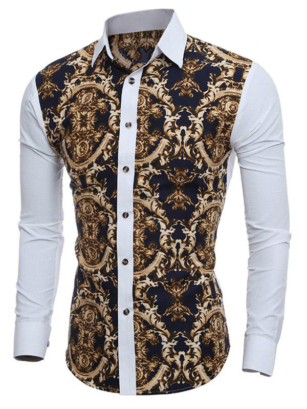 Outfits Baroque Print Long Sleeve Button Down Shirt