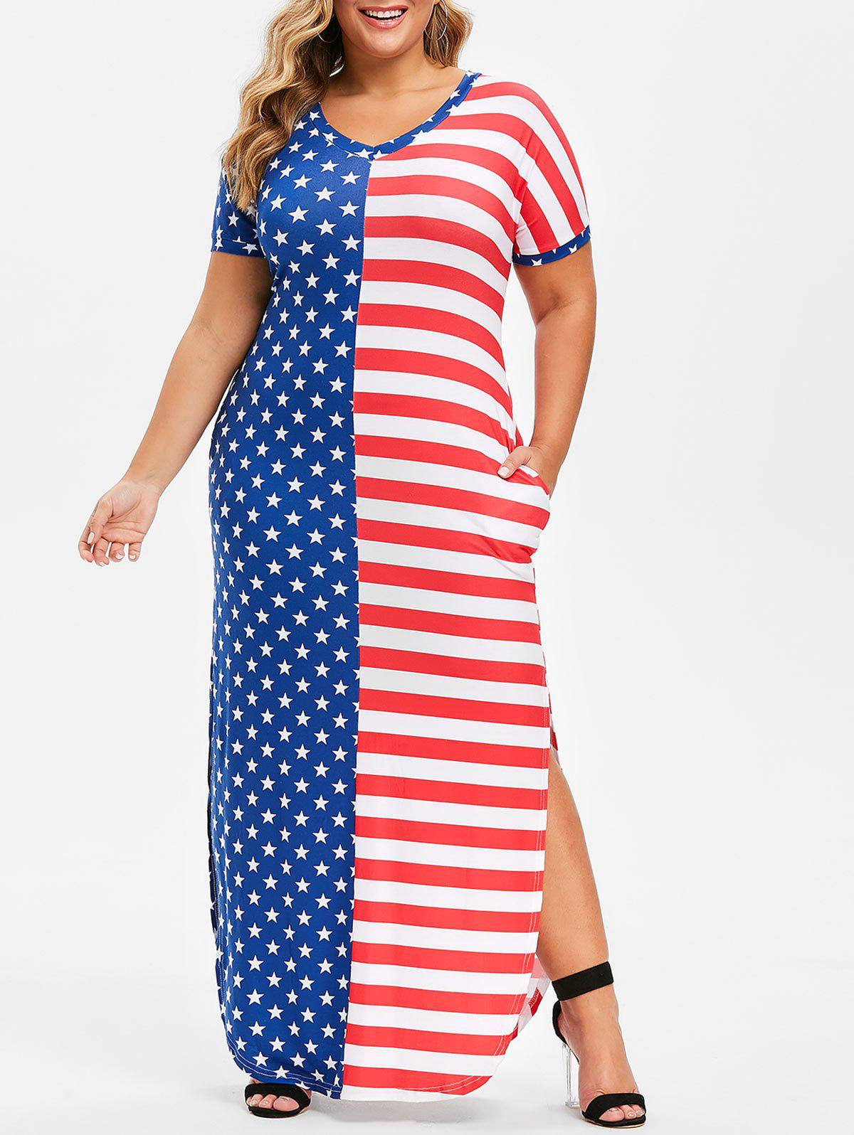 Outfit Seam Pockets Slit American Flag Plus Size Dress