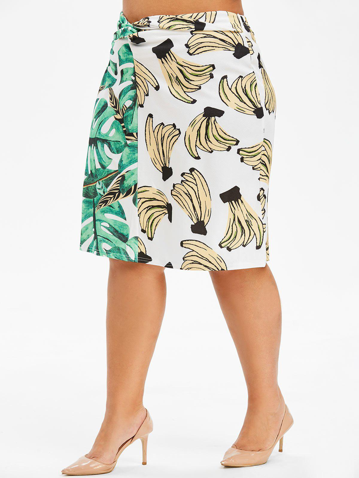 Store Plus Size Front Twist Banana Palm Print Skirt