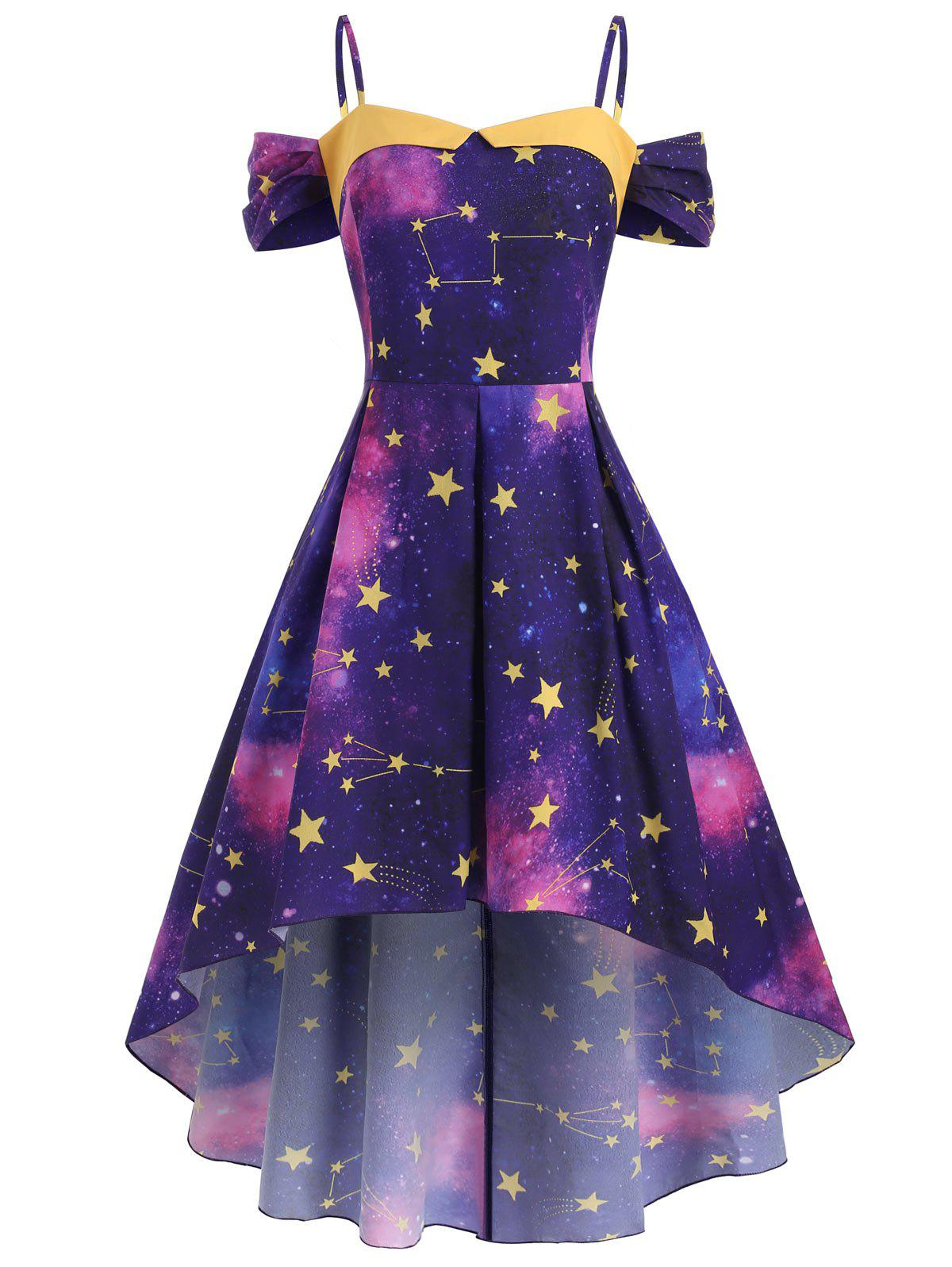 Latest High Low Cold Shoulder Star Galaxy Plus Size Dress