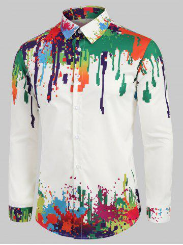Colorful Splatter Painting Geometric Print Shirt