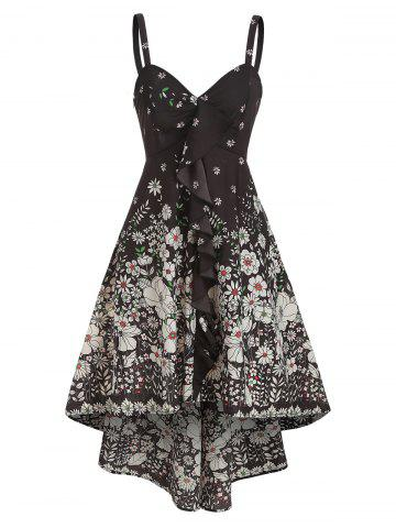 Asymmetric Flower Print Ruffled Spaghetti Strap Dress