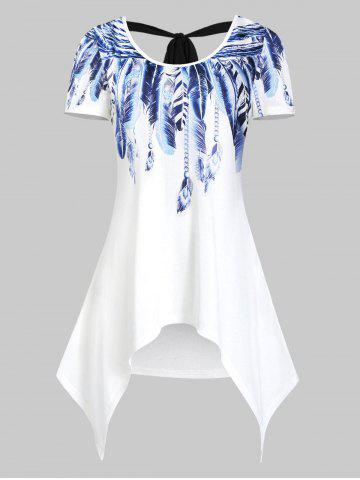 Asymmetrical Feather Print Round Collar T Shirt