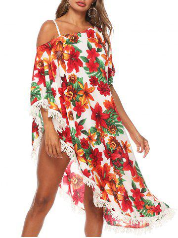 Floral Fringed Asymmetrical Cover Up Dress