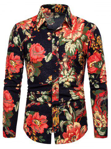 Flower Pattern Full Sleeves Shirt