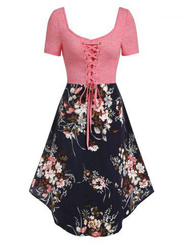 Lace-up Flower Print Asymmetric Casual Dress
